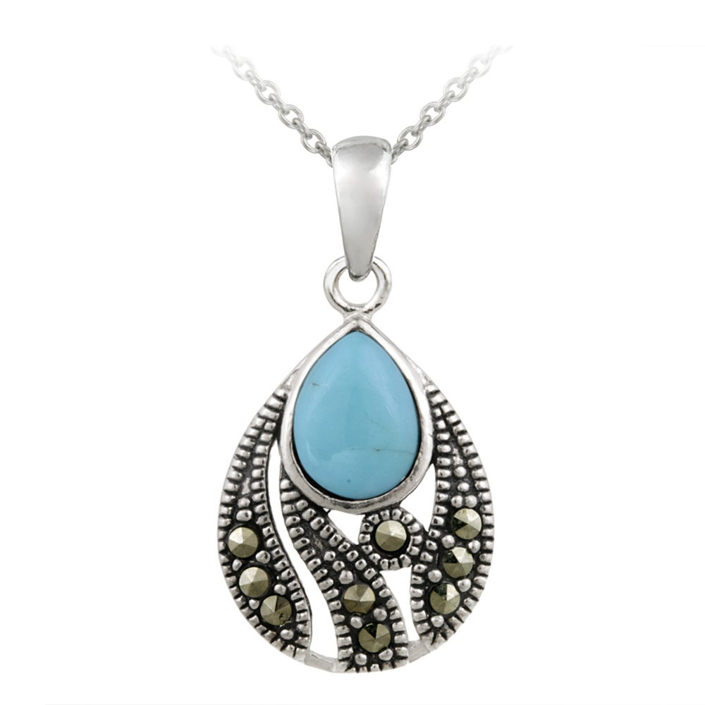 Glitzy Rocks Sterling Silver Marcasite Created Turquoise Teardrop Necklace