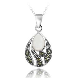 Glitzy Rocks Sterling Silver Marcasite Mother of Pearl Teardrop Necklace