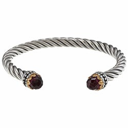 Sunstone Sterling Silver Glass Twist Cuff Bracelet
