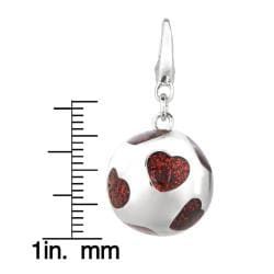 Women's Sterling-silver Ball with Hearts Sporty Clip-on Charm - Thumbnail 2
