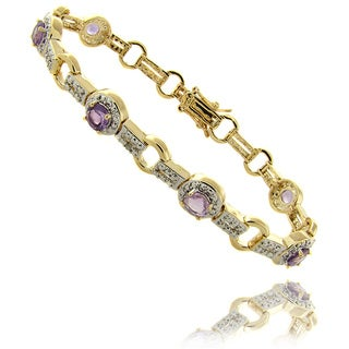 Dolce Giavonna 14k Gold Overlay Amethyst and Diamond Accent Bracelet