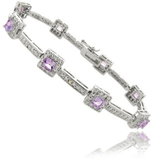 Dolce Giavonna Silver Overlay Amethyst and Diamond Accent Bracelet