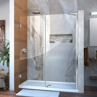 DreamLine Unidoor 54-55 in. W x 72 in. H Frameless Hinged Shower Door with Support Arm, Clear Glass