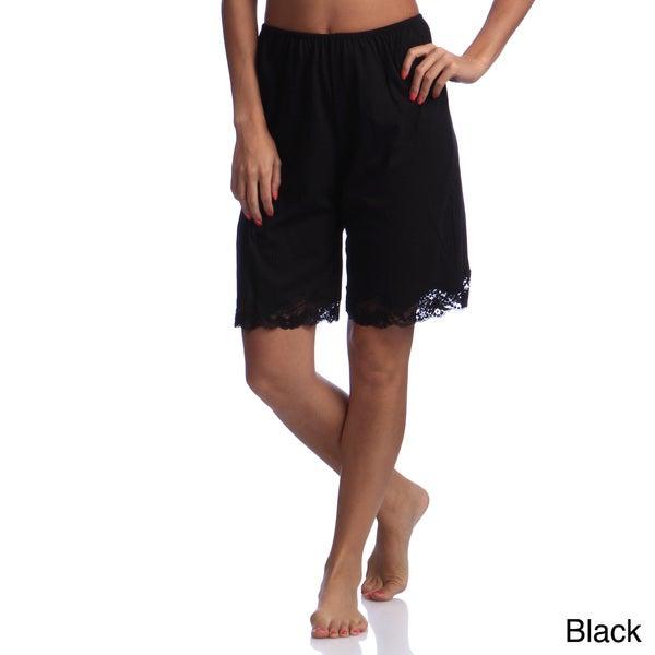 Illusion's Women's Cotton Lace Detail Trouser Slip