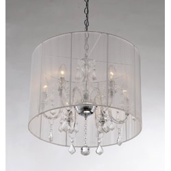 Emma white Shade and Iron Base Crystal Chandelier - Thumbnail 1