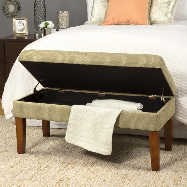 Charmant HomePop Decorative Storage Bench Textured Tan With Gold Chenille Tweed