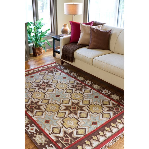 Hand-woven Tan/Red Southwestern Aztec Crewe Hard Twist Wool Rug (5' x 8')