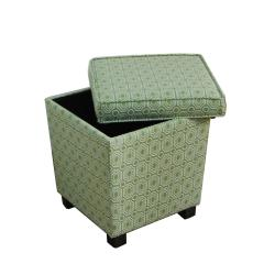 Trapezoid Spinach Geometric Fabric Storage OttomanFree Shipping