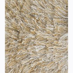 Handwoven Light Brown/Beige Mandara Shag Rug (7'9 x 10'6) - Thumbnail 2