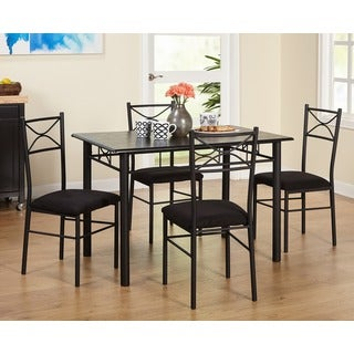 simple living valencia  piece metal dining set: black kitchen dining sets
