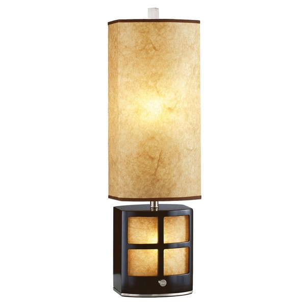 Traditional Dual Light Wooden Parchment Table Lamp