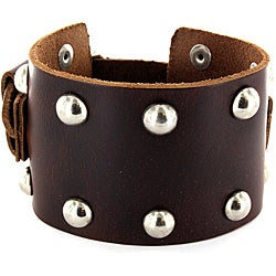 Brown Wide Leather and Round Stud Bracelet