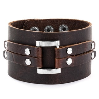 Adjustable Brown Wide Leather and Polished Buckle Cuff Bracelet