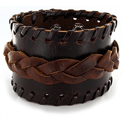 Brown Leather and Braided Center Bracelet