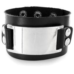 Black Leather Domed Buckle Bracelet