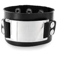 Black Leather Domed Buckle Bracelet