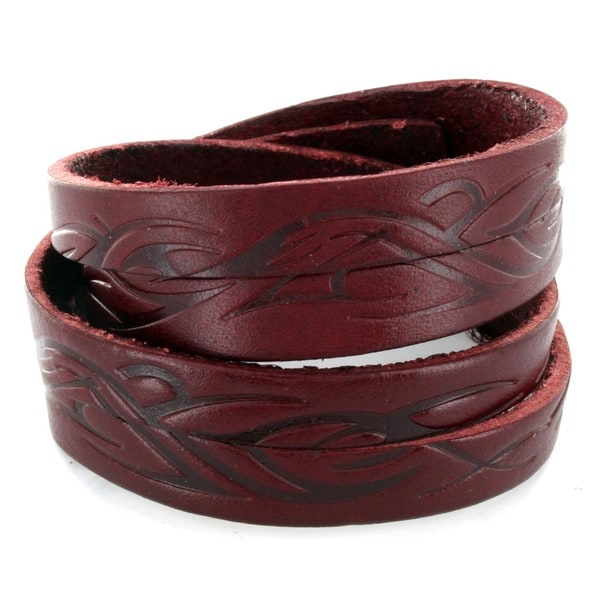 Scarlet Leather Double Wrap Tribal Design Bracelet