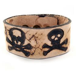 Brown Leather Branded Skull and Crossbones Bracelet