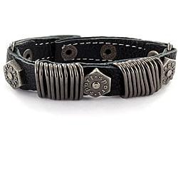 Black Leather Metal Ring and Bolt Head Bracelet