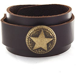 Dark Brown Leather and Star Charm Bracelet
