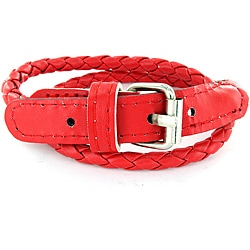 Leather Cherry Colored Woven Bracelet