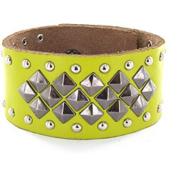 Lime Green Leather Studded Snap Bracelet