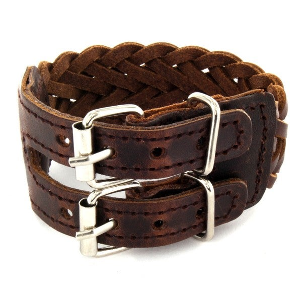 Brown Woven Leather Double Buckle Bracelet