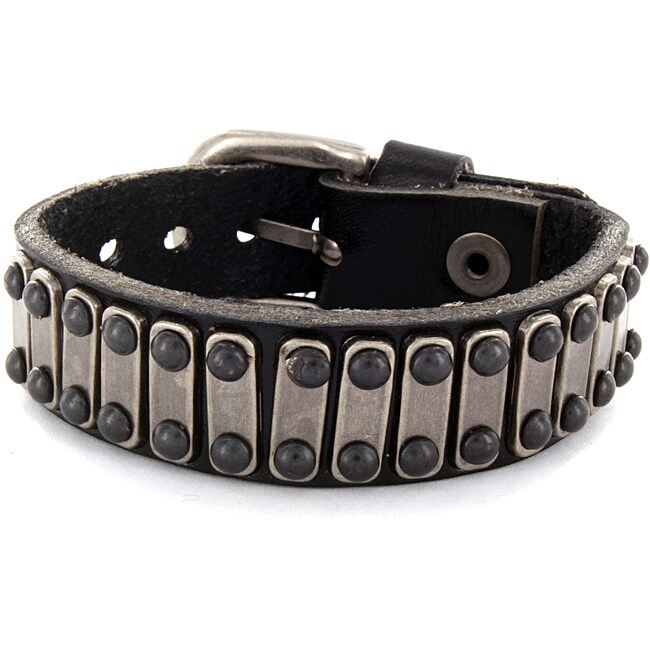 West Coast Black Leather and Steel Bar Accent Bracelet, M...
