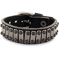 Black Leather and Steel Bar Accent Bracelet