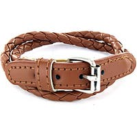 Leather Brown Colored Woven Bracelet