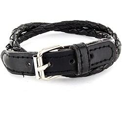 Leather Jet Black Woven Bracelet