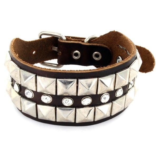 Brown Leather Pyramid Stud and Cubic Zirconia Bracelet