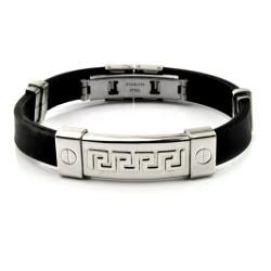 Stainless Steel and Rubber Tribal Maze ID Bracelet