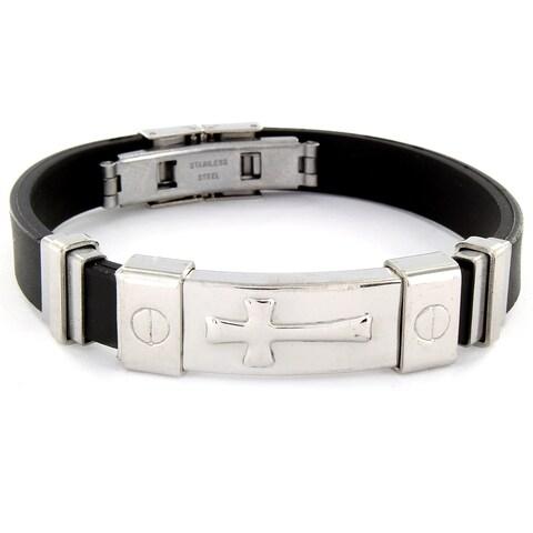 Stainless Steel and Rubber Raised Cross ID Bracelet - Black