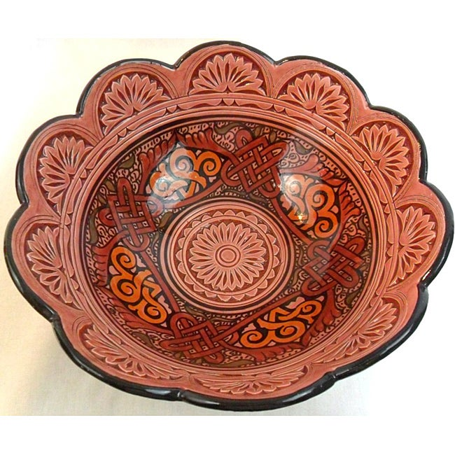 Handmade Large Engraved Ceramic Bowl (Morocco)