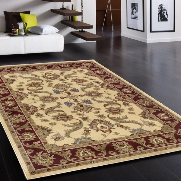 LNR Home Adana Cream/ Red Olefin Area Rug - 7'9 x 9'9