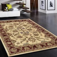 LNR Home Adana Cream/ Red Oriental Rug - 7'9 x 9'9