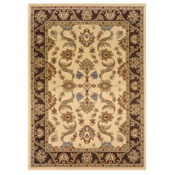 LR Home Adana Cream / Brown Oriental Rug - 5'3 x 7'5