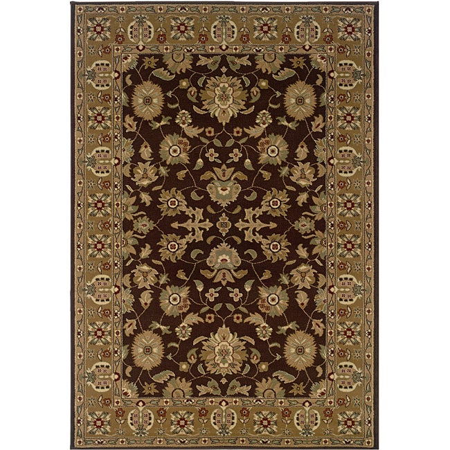 Brown/ Gold Oriental Rug (7'9 x 9'9)