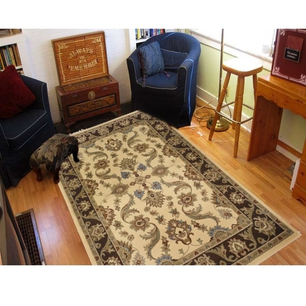 LNR Home Adana Cream/ Brown Oriental Rug - 7'9 x 9'9