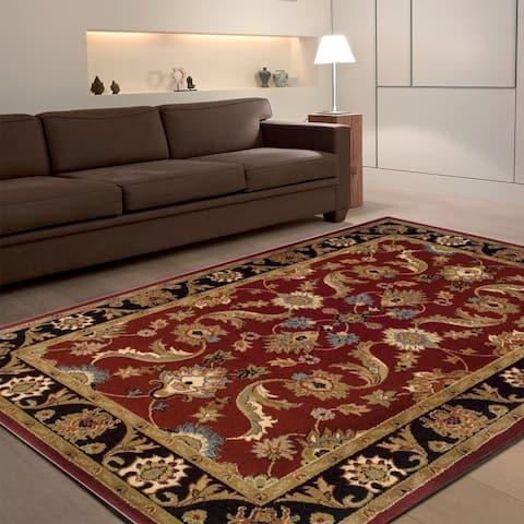 LR Home Adana Red/Black Olefin Rug - 5'3 x 7'5