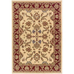 LNR Home Adana Cream/ Red Oriental Rug (5'3 x 7'5)