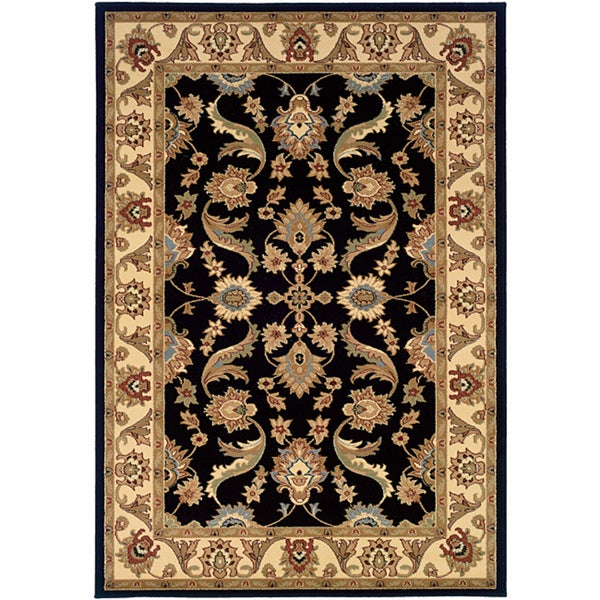 LNR Home Adana Black/ Cream Oriental Rug (7'9 x 9'9)