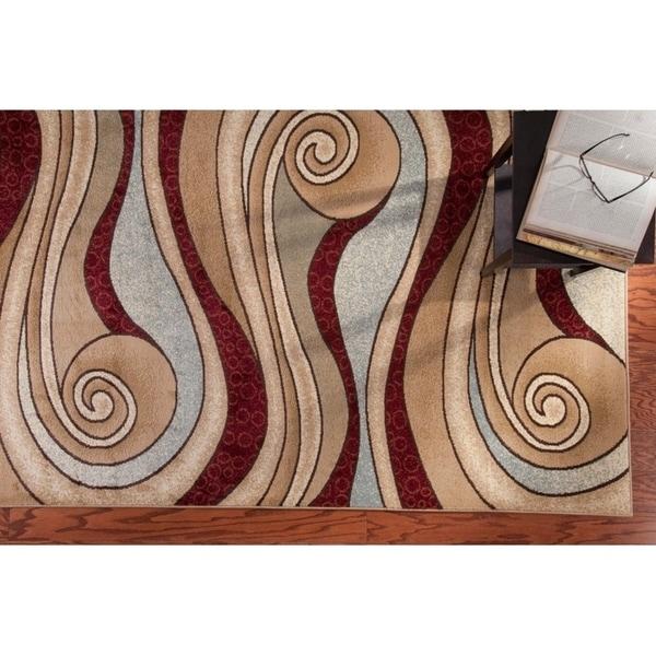 LR Home Adana Brown / Blue Swirls Abstract Rug ( 5'3 x 7'5 ) - 5'3 x 7'5