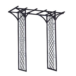 "Panacea 84""x75""x26"" Black Garden Arbor With Lattice"
