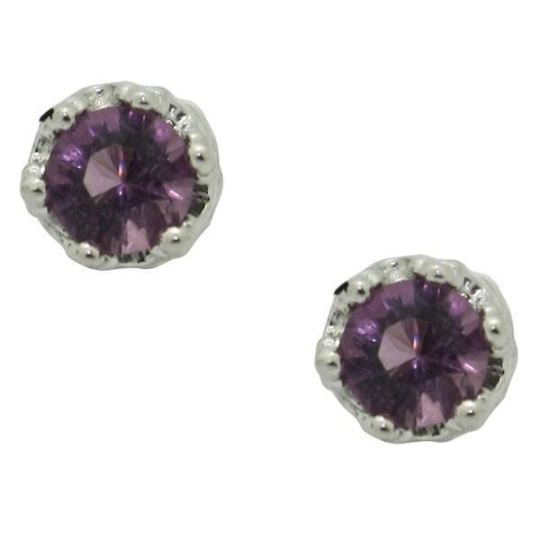 Gioelli Sterling Silver Purple Cubic Zirconia Stud Earrings