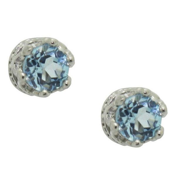 Gioelli Sterling Silver Blue Cubic Zirconia Stud Earrings