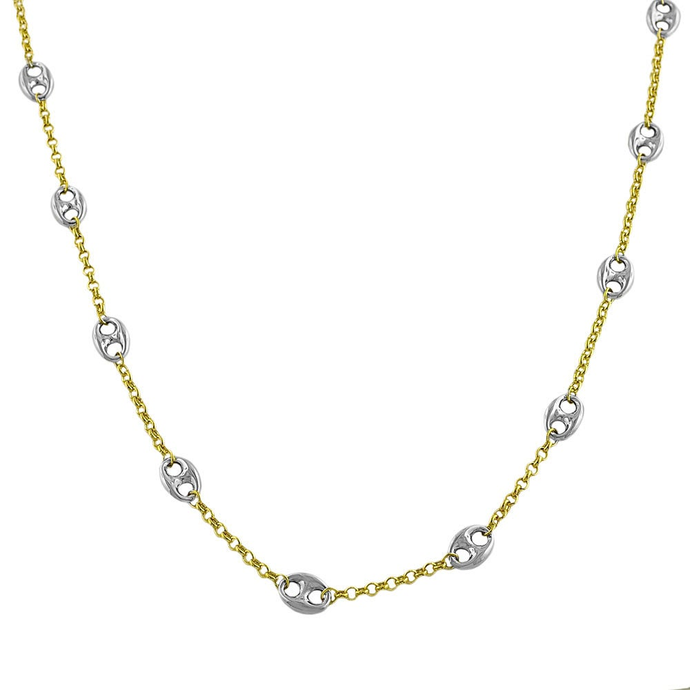 Fremada 14k Two-tone Gold 30-inch Puff Mariner Station Necklace