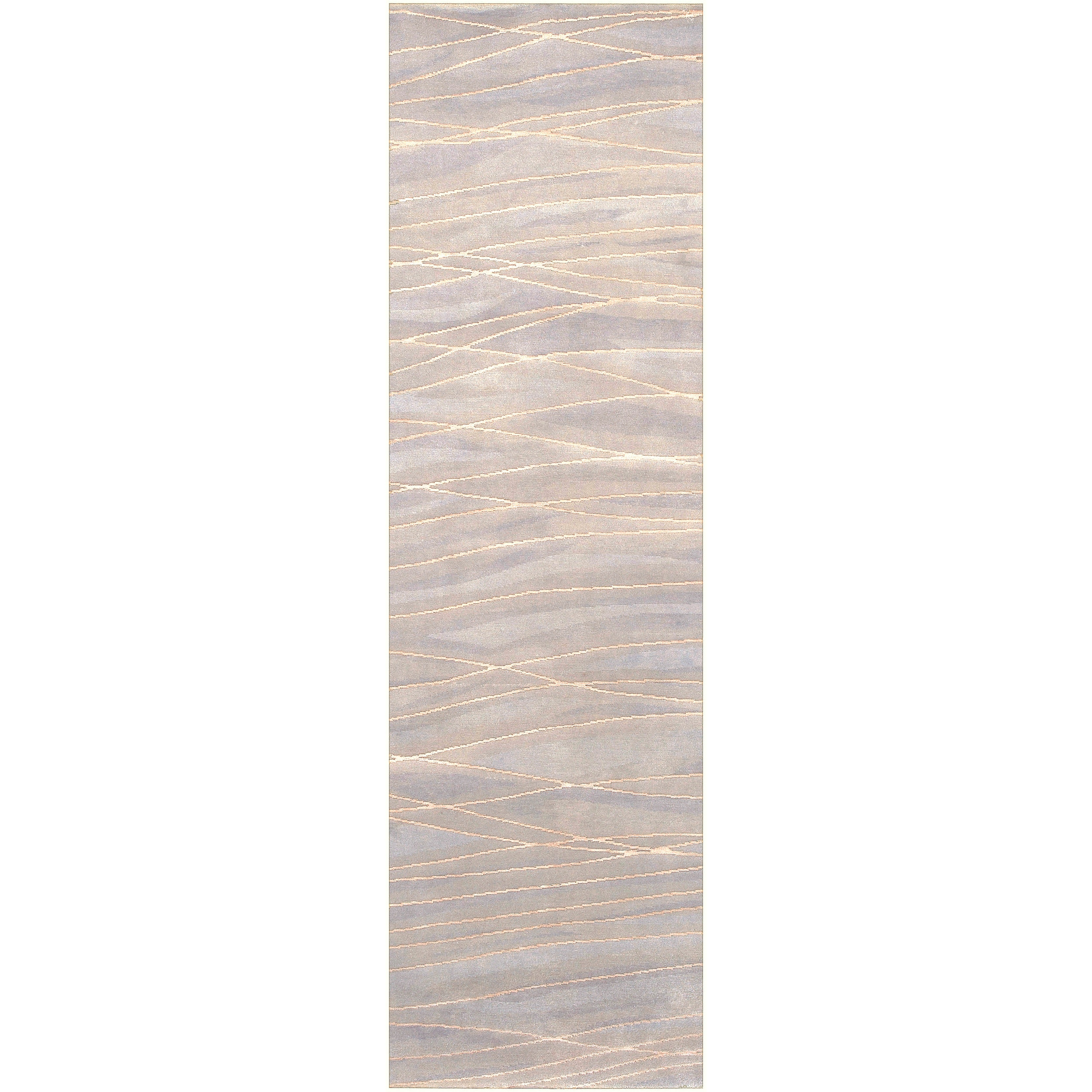 Hand-knotted Kempston Abstract Design Wool Rug (2 '6 x 10')