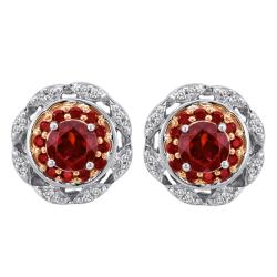 Sterling Silver 1/3ct TDW Diamond and Garnet Earrings (I-J, I2-I3)